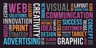 Comunicación y márketing - nube de la palabra fotos de archivo