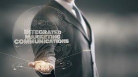 Comunicaciones de comercialización integrada con concepto del hombre de negocios del holograma ilustración del vector
