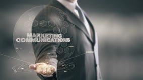 Comunicaciones de marketing con concepto del hombre de negocios del holograma libre illustration