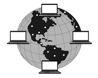 Comunicaciones del ordenador en el mundo entero Foto de archivo