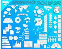 Comunicaciones EPS10 de los recortes del papel de Infographics Fotos de archivo