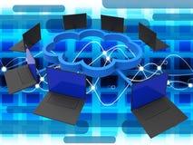 Comunicaciones globales computacionales y ordenador de las demostraciones de la nube ilustración del vector