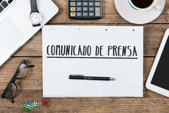 Comunicado de prensa, Spanish text for Press Release on note pad Royalty Free Stock Image
