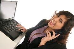 Comunicando sopra il telefono fotografia stock libera da diritti