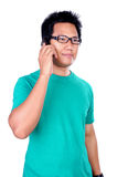 Comunicando sul cellulare Fotografia Stock
