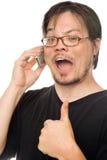 Comunicando sul cellulare Fotografia Stock Libera da Diritti