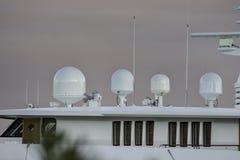 Comunication plant of luxury yacht. In la spezia gulf royalty free stock image