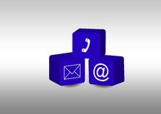 Comunication. Symbols inside blue cubes Royalty Free Stock Images