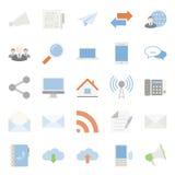 Comunication and web color flat icons set Stock Photo