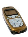 Comunications: Teléfono celular del oro aislado en blanco Imagenes de archivo