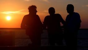 Comunicazione amichevole al mare di tramonto stock footage