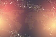 Comunicazione astratta grafica virtuale del fondo con la mappa di mondo punteggiata Contesto di prospettiva di profondità Dati di Fotografie Stock