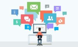 Comunicazione commerciale e collegamento a Internet sociali online Fotografia Stock