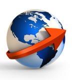 Comunicazione del globo della terra con il segno della freccia Fotografia Stock