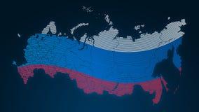 Comunicazione del mondo - Russia - bandiera di paese - impronta digitale punteggiata su fondo nero royalty illustrazione gratis