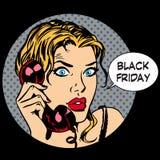 Comunicazione del telefono della donna di Black Friday Fotografie Stock