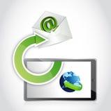Comunicazione della posta facendo uso della compressa. illustrazione Fotografia Stock Libera da Diritti
