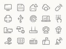 Comunicazione della rete e linea icone di elettronica illustrazione di stock