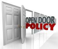 Comunicazione di benvenuto della gestione di parole di politica di porta aperta Fotografia Stock