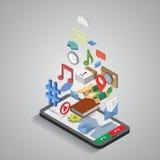 Comunicazione di navigazione di applicazioni del telefono cellulare Illustrazione Vettoriale