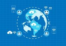 Comunicazione di tecnologia di vettore su fondo blu Immagini Stock