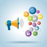 Comunicazione e promozione in media sociali Fotografia Stock