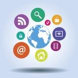 Comunicazione e tecnologia delle icone intorno al mondo Fotografie Stock