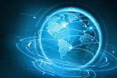 Comunicazione globale del pianeta Terra Dello scambio dei dati via Internet illustrazione di stock