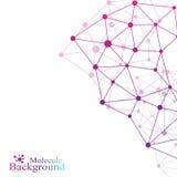 Comunicazione grafica del fondo DNA della molecola della struttura, neuroni, atomo Informazioni della rete sociale Linee collegat Fotografie Stock