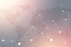 Comunicazione grafica geometrica del fondo con la mappa di mondo punteggiata Grande complesso di dati con i composti Prospettiva  Immagini Stock Libere da Diritti