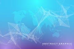 Comunicazione grafica virtuale del fondo con il globo del mondo Un senso di scienza e tecnologia Visualizzazione di dati di Digit illustrazione di stock
