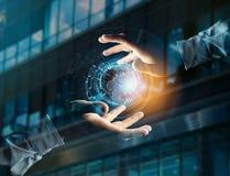 Comunicazione internazionale del globo visualizzata su un inte futuristico Fotografia Stock Libera da Diritti
