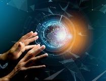 Comunicazione internazionale del globo visualizzata su un inte futuristico Immagini Stock