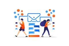 Comunicazione moderna con tecnologia applicazione di chiacchierata con la busta dialogo con i media sociali Illustrazione di vett royalty illustrazione gratis