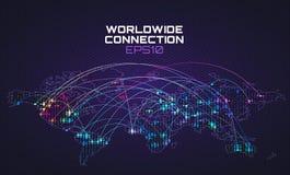 Comunicazione mondiale del sociale di Internet Traiettoria del flusso di dati, nuvola che computa fondo astratto Rete globale illustrazione vettoriale