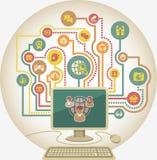 Comunicazione online in media sociali da un computer Fotografie Stock Libere da Diritti