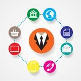 Comunicazione piana dell'illustrazione di vettore delle icone di affari Fotografie Stock