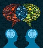 Comunicazione sociale del cervello di media illustrazione vettoriale