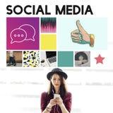 Comunicazione sociale di chiacchierata di comunicazione del blog di media immagini stock