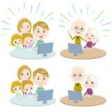 Comunicazione White_Remote di Internet delle generazioni della famiglia 3 Immagine Stock Libera da Diritti
