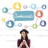Comunichi il concetto della discussione di conversazione del collegamento immagine stock libera da diritti