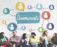 Comunichi il concetto della discussione di conversazione del collegamento fotografie stock libere da diritti