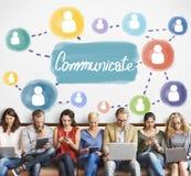 Comunichi il concetto della discussione di conversazione del collegamento fotografia stock libera da diritti