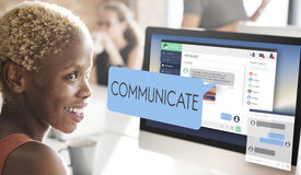 Comunichi il concetto della tecnologia di conversazione di comunicazione immagine stock