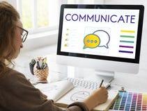 Comunichi il concetto interattivo del collegamento di tendenze fotografie stock