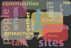 Comunichi le bolle sociali di parole della rete di media Fotografia Stock Libera da Diritti
