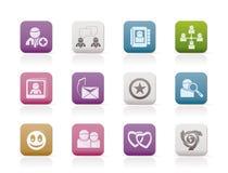 Comunidad de Internet e iconos sociales de la red Fotos de archivo libres de regalías