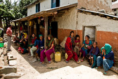 Comunidad del pueblo de Chhaimale, los 29km al sur de Katmandu, Nepal Imagen de archivo libre de regalías