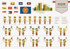 Comunidad económica de la Asociación de Naciones del c@sureste Asiático ilustración del vector