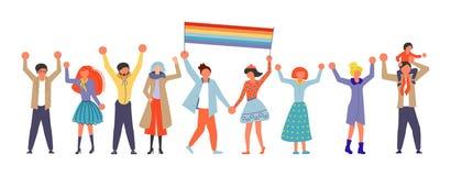 Comunidad homosexual en desfile del amor stock de ilustración